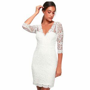 Lulus Rainey White Lace Long Sleeve Dress XS